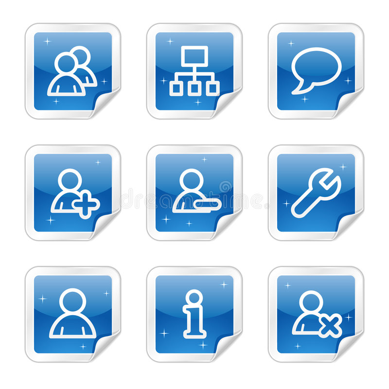 Download Users Web Icons, Blue Glossy Sticker Series Stock Vector - Image: 8643159