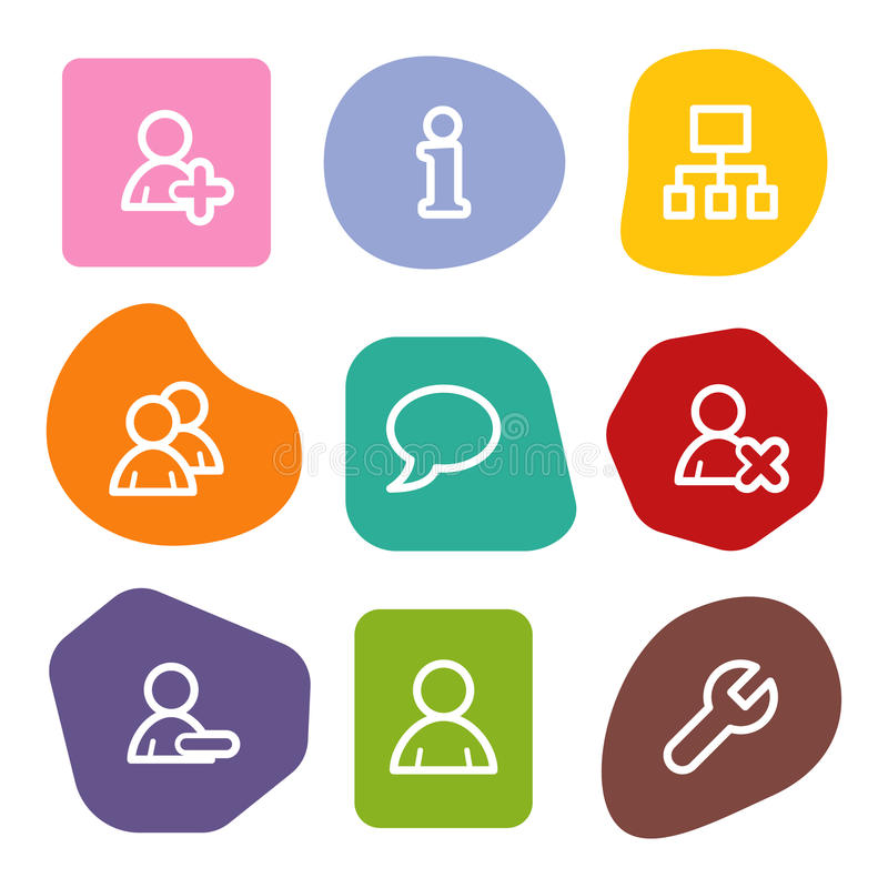 Users web icons, colour spots series stock illustration