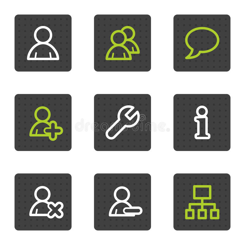 Users web icons, grey square buttons series stock photo