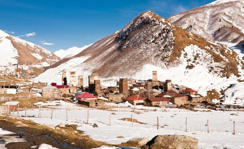 Ushguli - κοινότητα τεσσάρων χωριών - ανώτερο Svaneti, Καύκασος μ στοκ εικόνες με δικαίωμα ελεύθερης χρήσης
