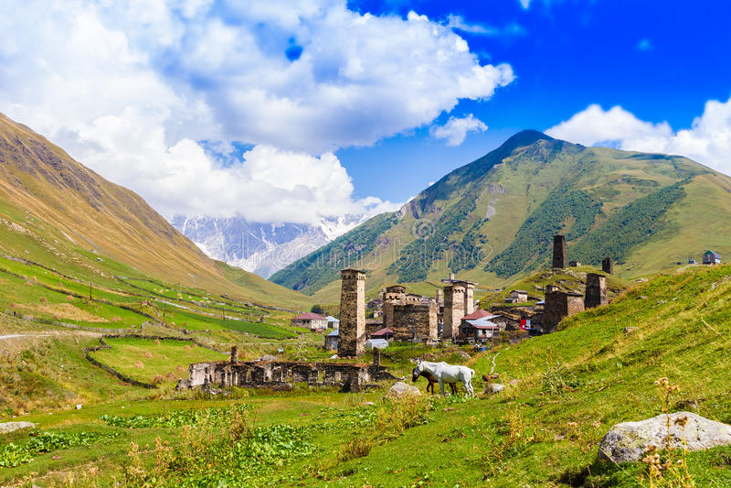 Ushguli, Górny Svaneti, Gruzja, Europa zdjęcia stock