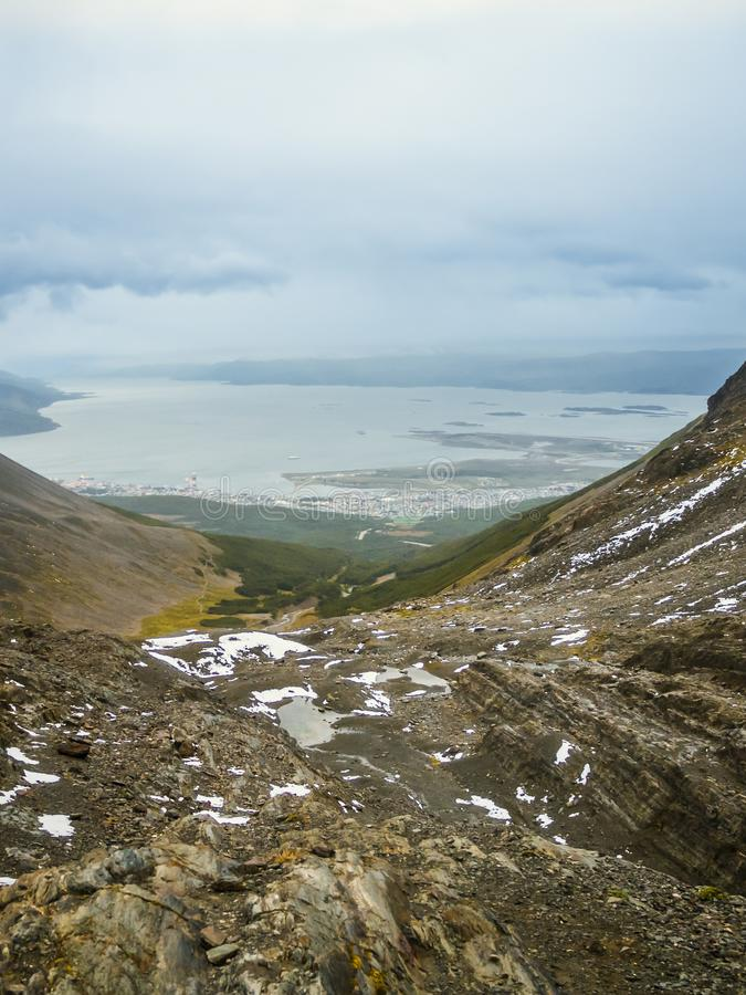Ushuaia aerial view from the Martial Glacier. Tierra del Fuego in Argentina stock photography
