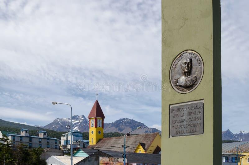 USHUAIA, ARGENTINA, O 5 DE DEZEMBRO DE 2016: Vista à cidade de Ushuaia com imagem de stock