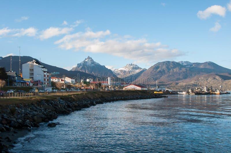Ushuaia boardwalk w Tierra Del Fuego, Argentyna obraz stock