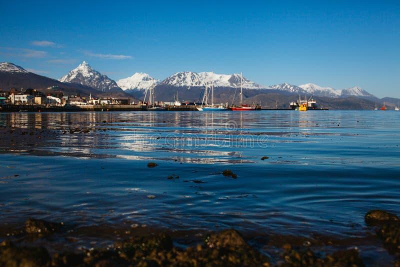 Ushuaia capital of Tierra del Fuego Argentina landscape. Patagonia water blue stock photo