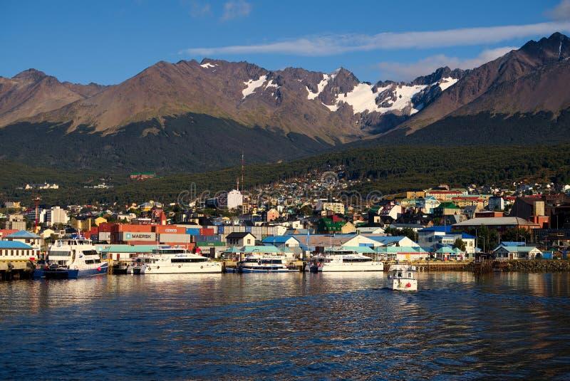 Ushuaia e o canal do lebreiro, Tierra del Fuego, Argentina imagem de stock royalty free