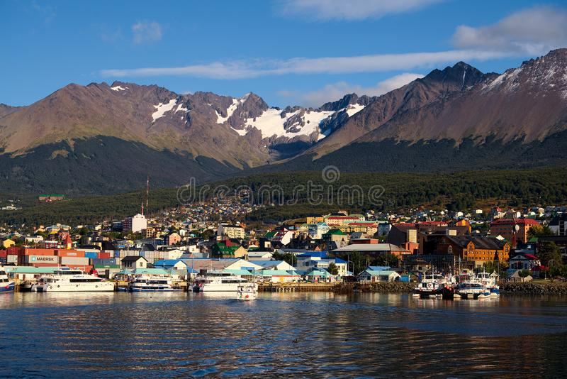Ushuaia e o canal do lebreiro, Tierra del Fuego, Argentina fotografia de stock royalty free