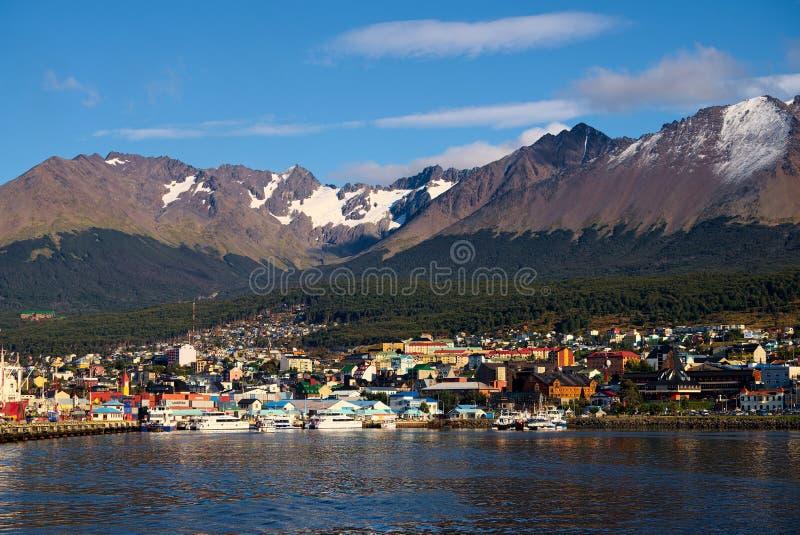 Ushuaia e o canal do lebreiro, Tierra del Fuego, Argentina imagens de stock royalty free