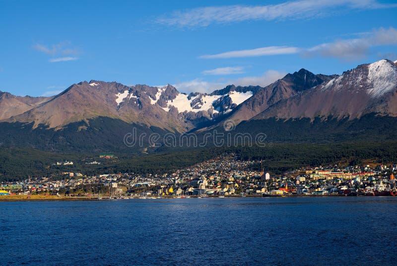 Ushuaia e o canal do lebreiro, Tierra del Fuego, Argentina imagens de stock