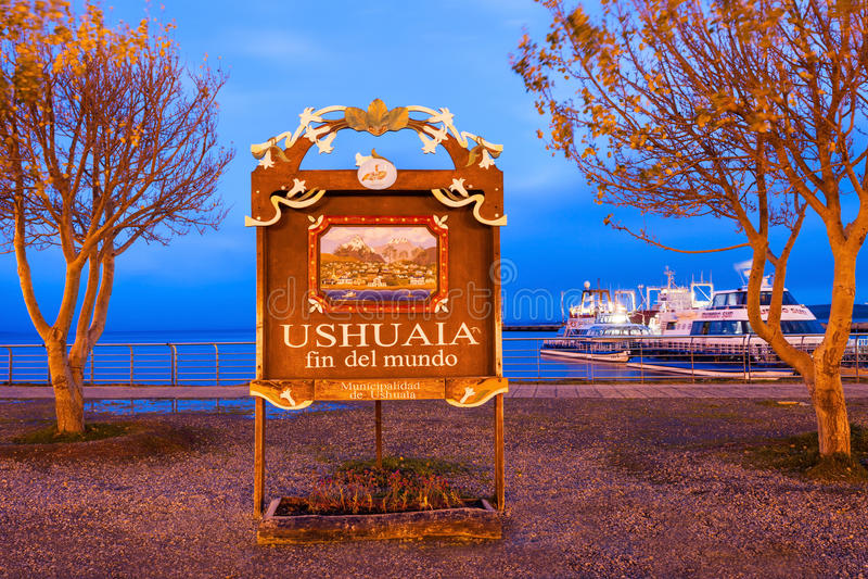 Ushuaia fena Del Mundo arkivfoto