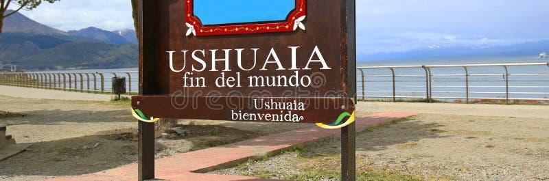 Ushuaia Fin Del Mundo End του παγκόσμιου σημαδιού Ushuaia, επαρχία Γης του Πυρός στην Αργεντινή στοκ φωτογραφία με δικαίωμα ελεύθερης χρήσης