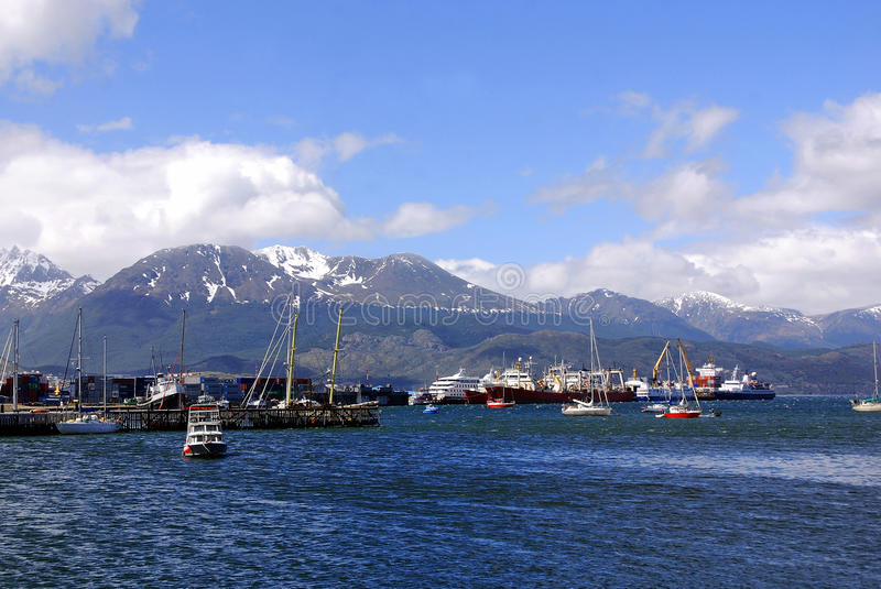 Download Ushuaia harbor editorial photo. Image of clouds, dappled - 26911531