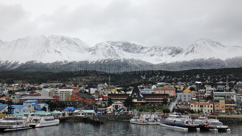 """Ushuaia located at the southernmost tip of South America, nicknamed the """"End of the World"""". And surrounded by the Martial Mountains royalty free stock photos"""