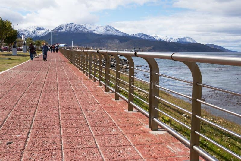 Ushuaia-Promenade und Spürhund-Kanal, Tierra del Fuego, Argentinien stockbild