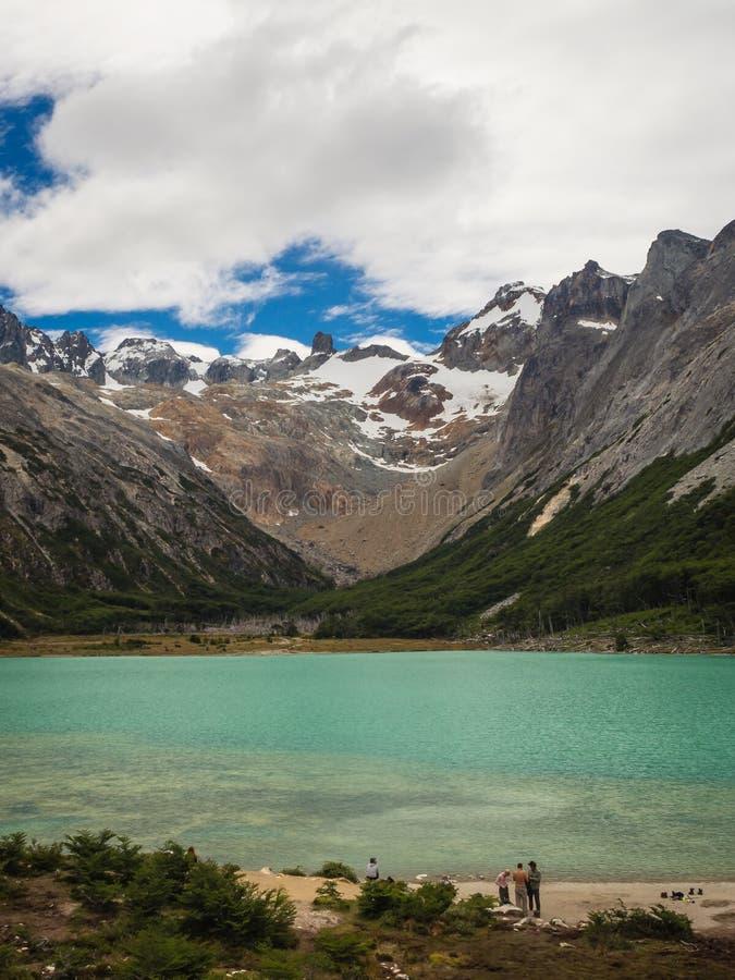 Ushuaia Terra do Fogo de Argentina do patagonia do esmeralda de Laguna imagens de stock