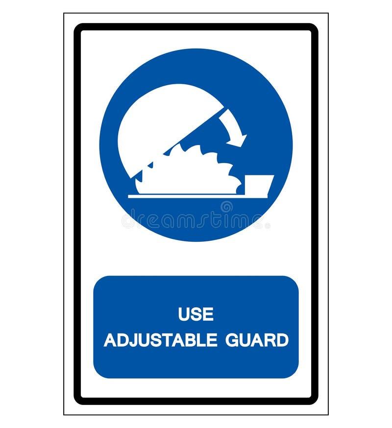 Usi il segno regolabile di simbolo della protezione delle guardie, l'illustrazione di vettore, isolato sull'etichetta bianca del  illustrazione di stock