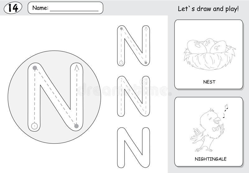 Usignuolo de la historieta y hoja de trabajo de trazado del alfabeto de la jerarquía: writin ilustración del vector