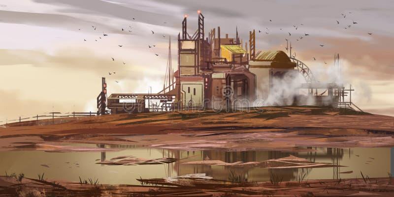 Usine abandonnée Puits abandonné de mine Contexte de fiction Art de concept illustration stock