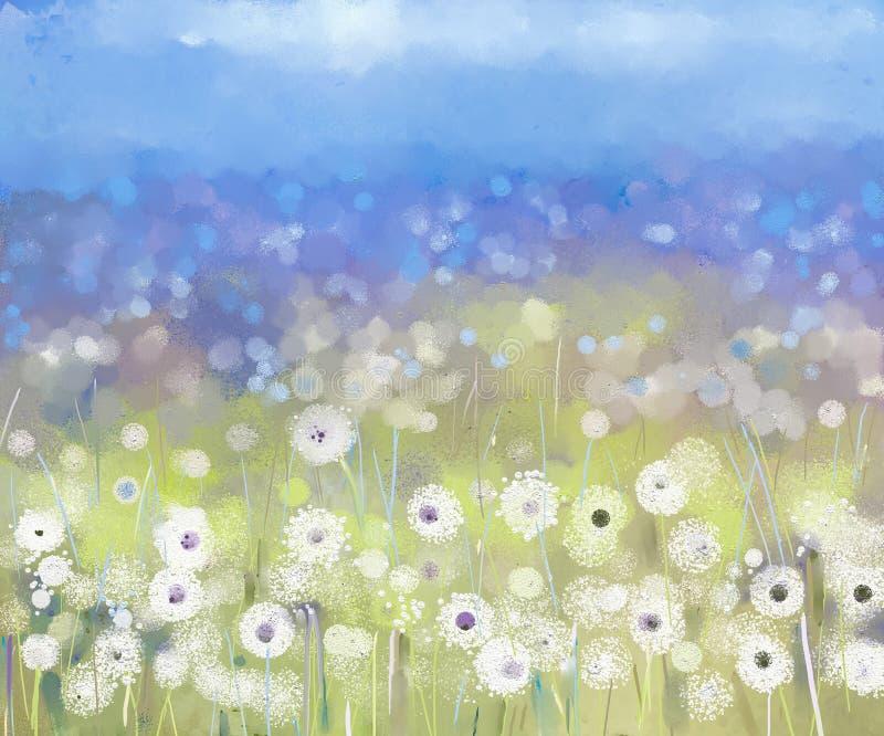 Usine abstraite de fleurs fleuve de peinture à l'huile d'horizontal de forêt illustration stock
