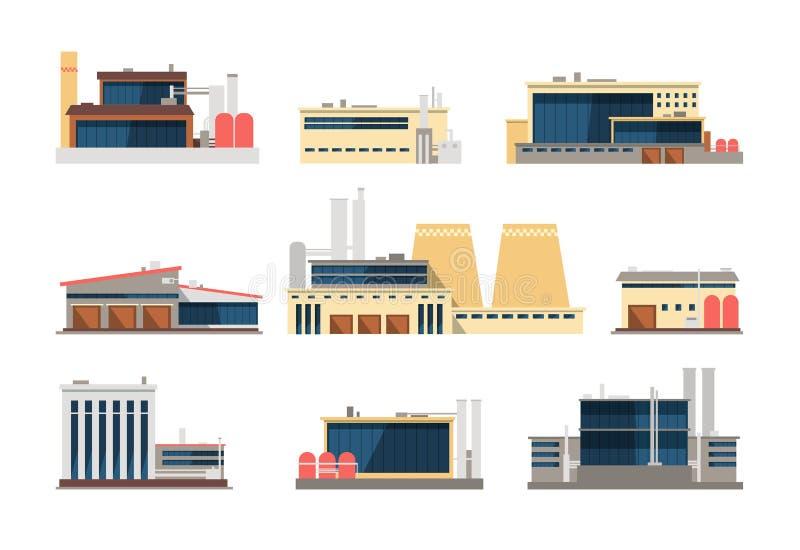 Usine, centrale et bâtiments industriels d'entrepôt Icônes plates de vecteur industriel de construction illustration stock
