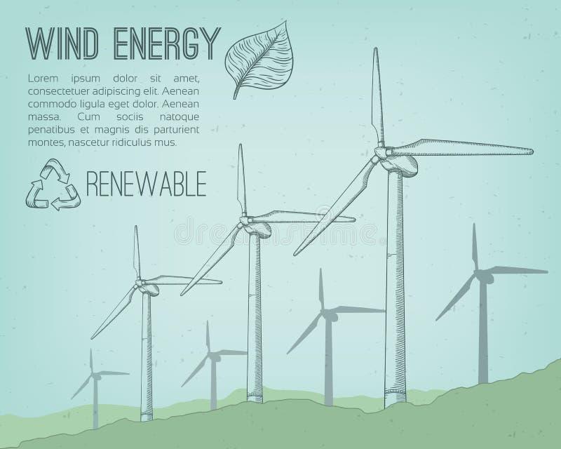 Usine d'énergie éolienne illustration de vecteur
