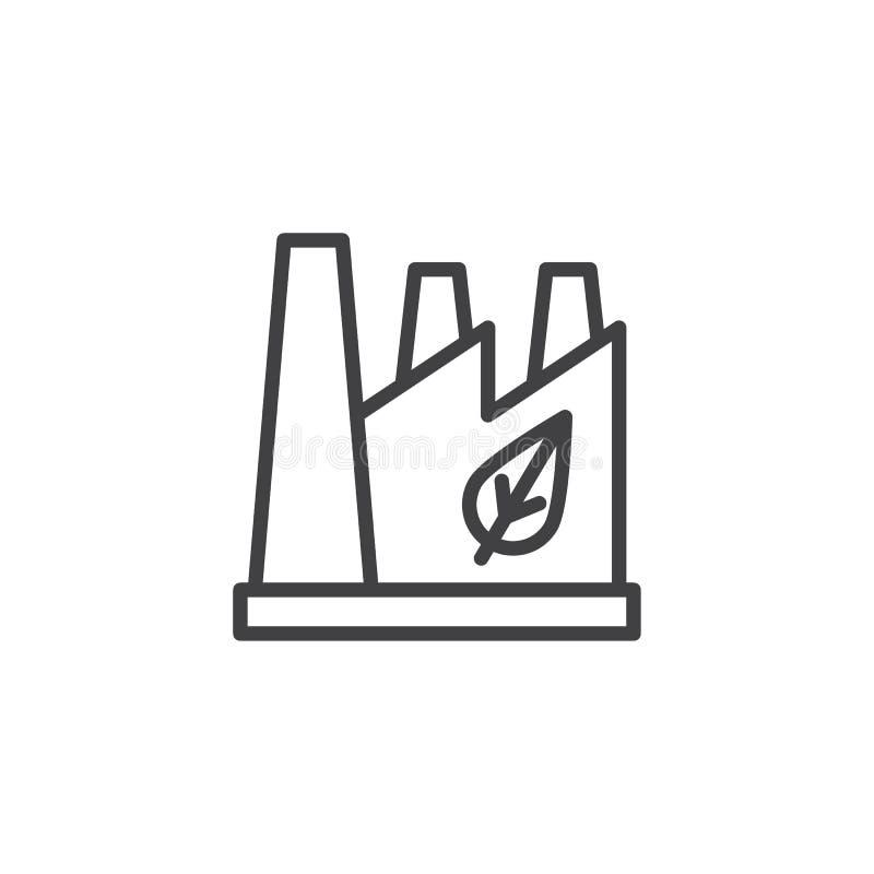 Usine d'Eco avec l'icône d'ensemble de feuille illustration libre de droits