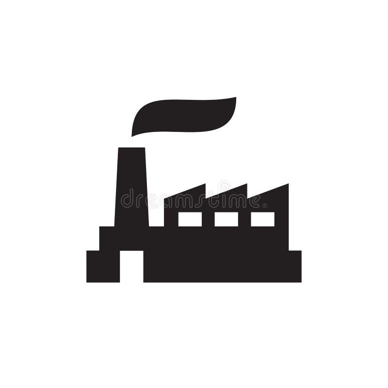 Usine d'usine - icône noire sur l'illustration blanche de vecteur de fond pour le site Web, application mobile, présentation, inf illustration libre de droits