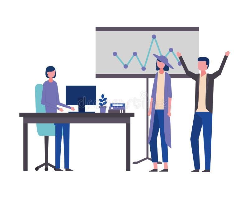 Usine d'ordinateur de présentation de panneau de bureau d'homme et de femme d'affaires illustration libre de droits