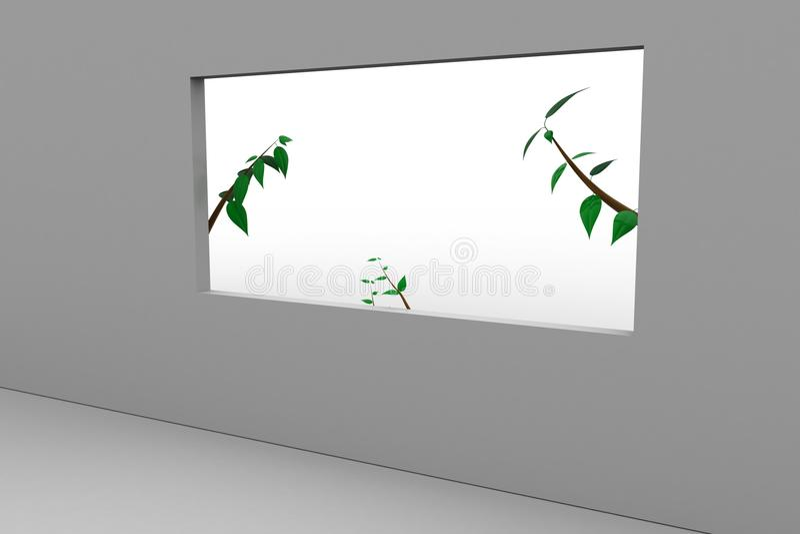 Usine D\'un Côté De Fenêtre Dans Une Maison Moderne Illustration ...