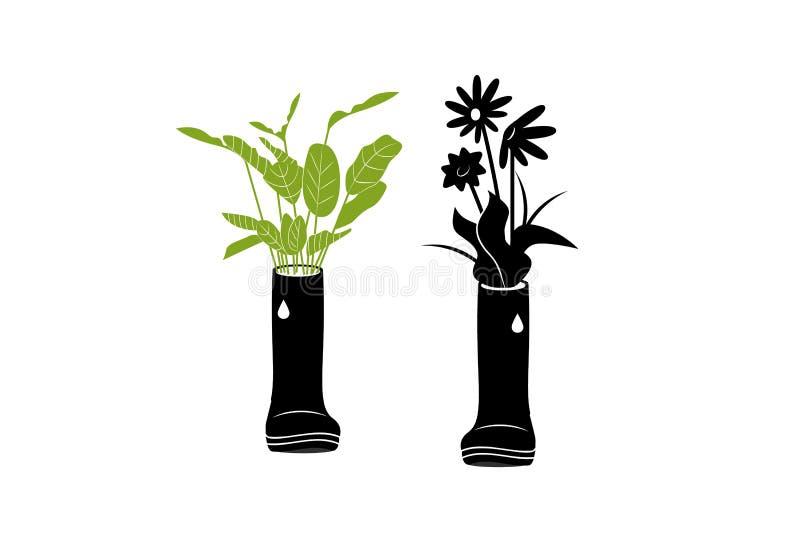 Usine dans des bottes en caoutchouc Illustration de vecteur dans le style simple illustration stock