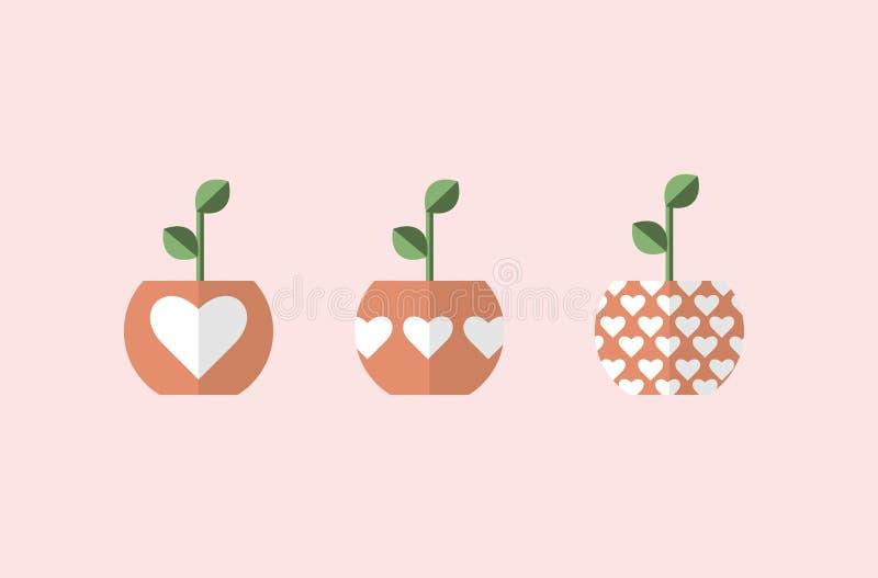 Usine dans des pots avec des coeurs 3 vecteurs différents, conceptions simples illustration libre de droits