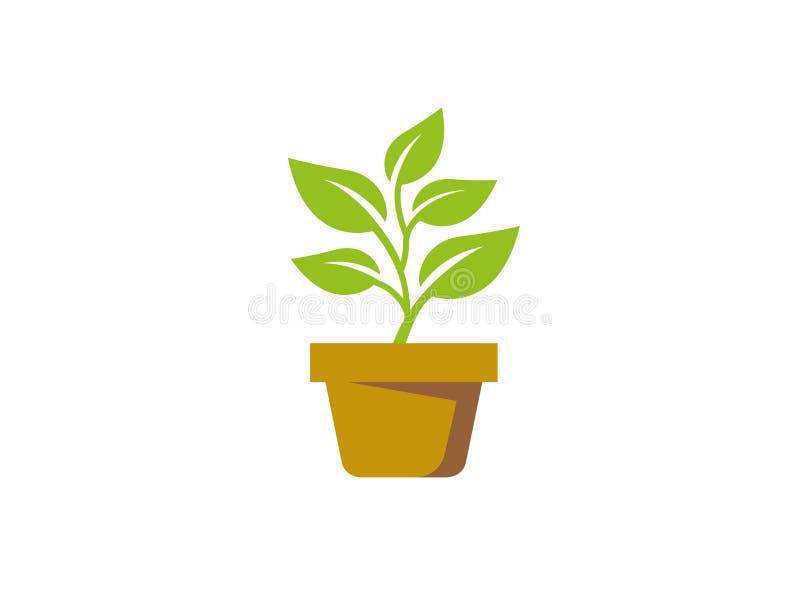 Usine dans le pot avec quelques feuilles pour le logo illustration de vecteur