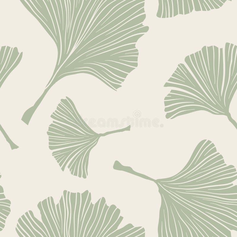 Usine de Biloba de Ginkgo, schéma Pale Sage Colored Leaves sur le fond en ivoire Modèle monochrome de santé Ayurvedic illustration stock