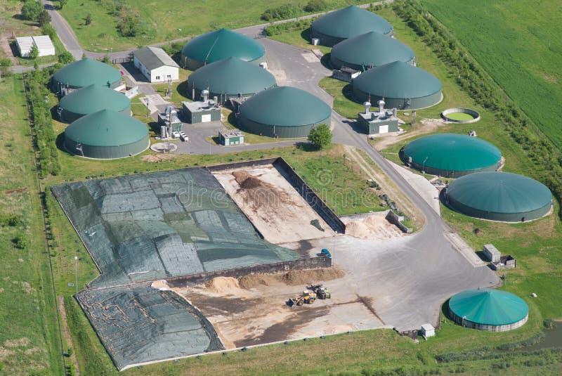 Usine de biogaz, vue d'oeil d'oiseau image stock