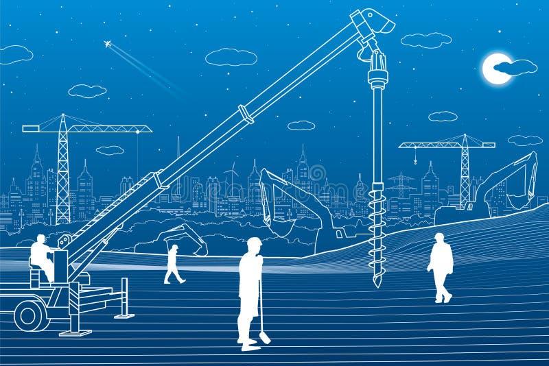 Usine de construction Travailler de personnes Machines, grues et bouteurs d'industrie Illustration de bâtiments d'infrastructure  illustration stock