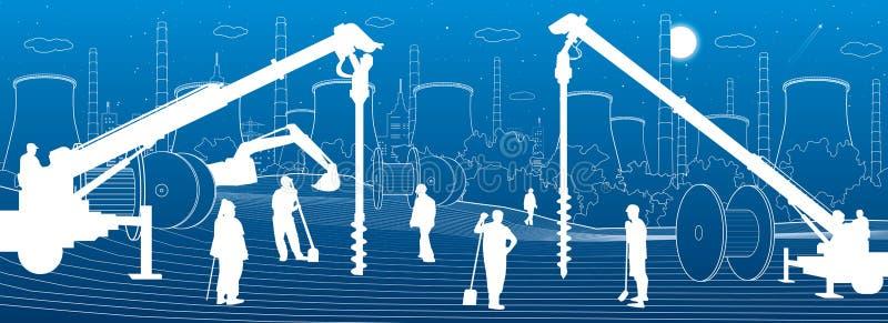 Usine de construction Travailler de personnes Machines, grues et bouteurs d'industrie Illustration urbaine de b?timents d'infrast illustration de vecteur
