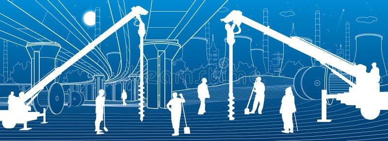 Usine de construction Travailler de personnes Machines, grues et bouteurs d'industrie Illustration urbaine de b?timents d'infrast illustration libre de droits