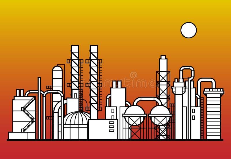 Usine de produit chimique et de pétrole illustration libre de droits
