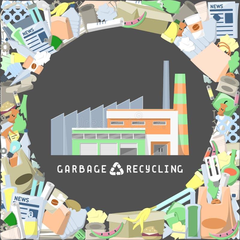 Usine de réutilisation de déchets entourée par des déchets illustration stock