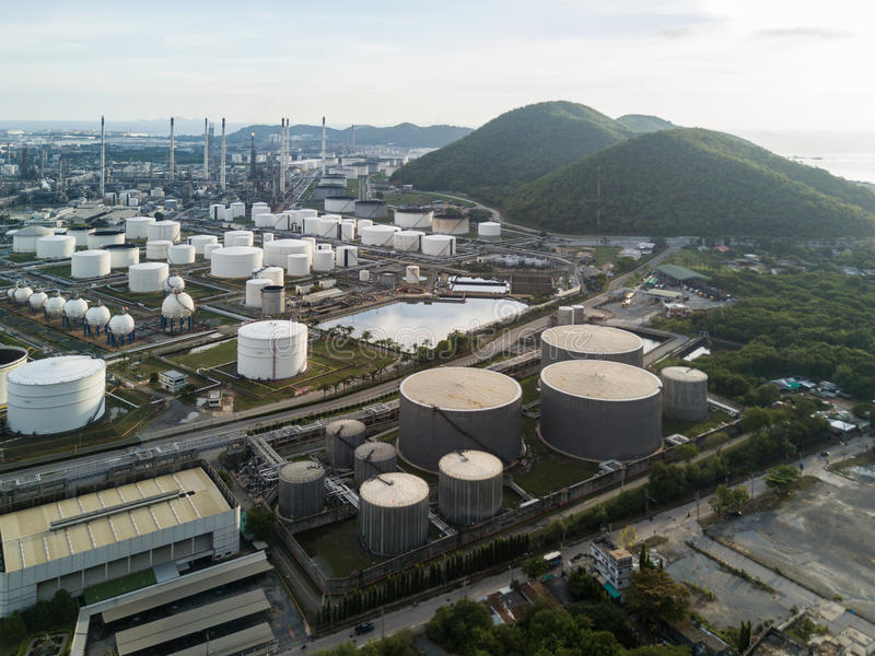 Usine de raffinerie de pétrole en Thaïlande photographie stock libre de droits