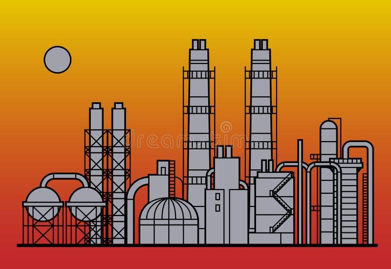 Usine de raffinerie de pétrole illustration de vecteur