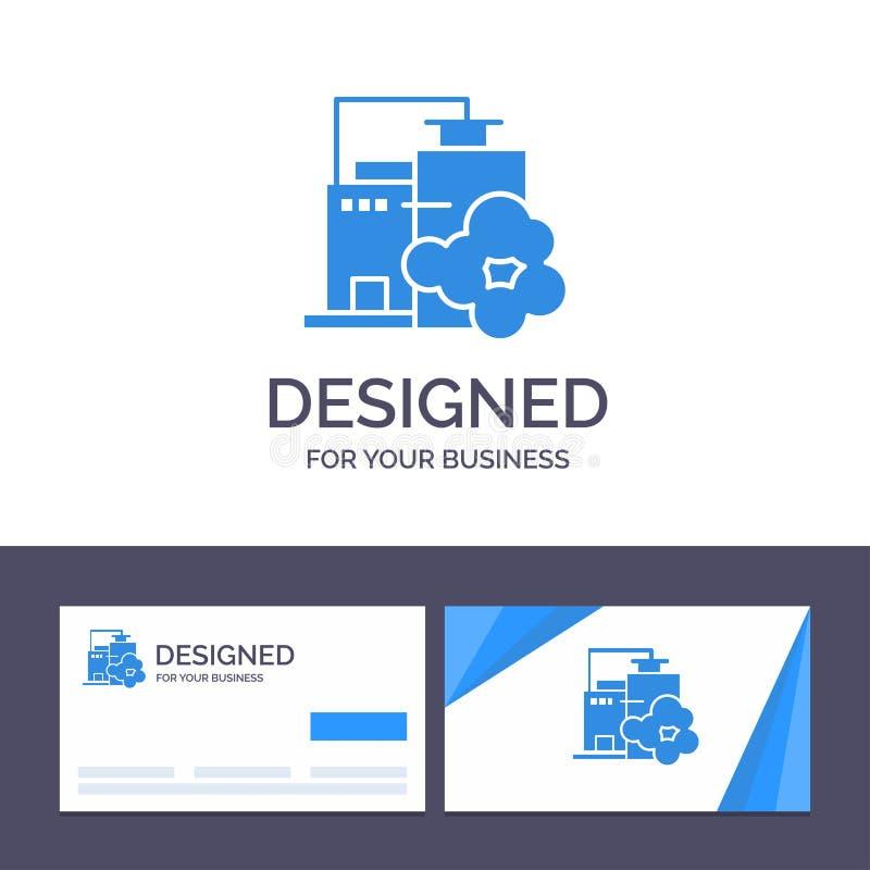 Usine de visite de calibre créatif de carte de visite professionnelle et de logo, industrie, paysage, illustration de vecteur de  illustration libre de droits
