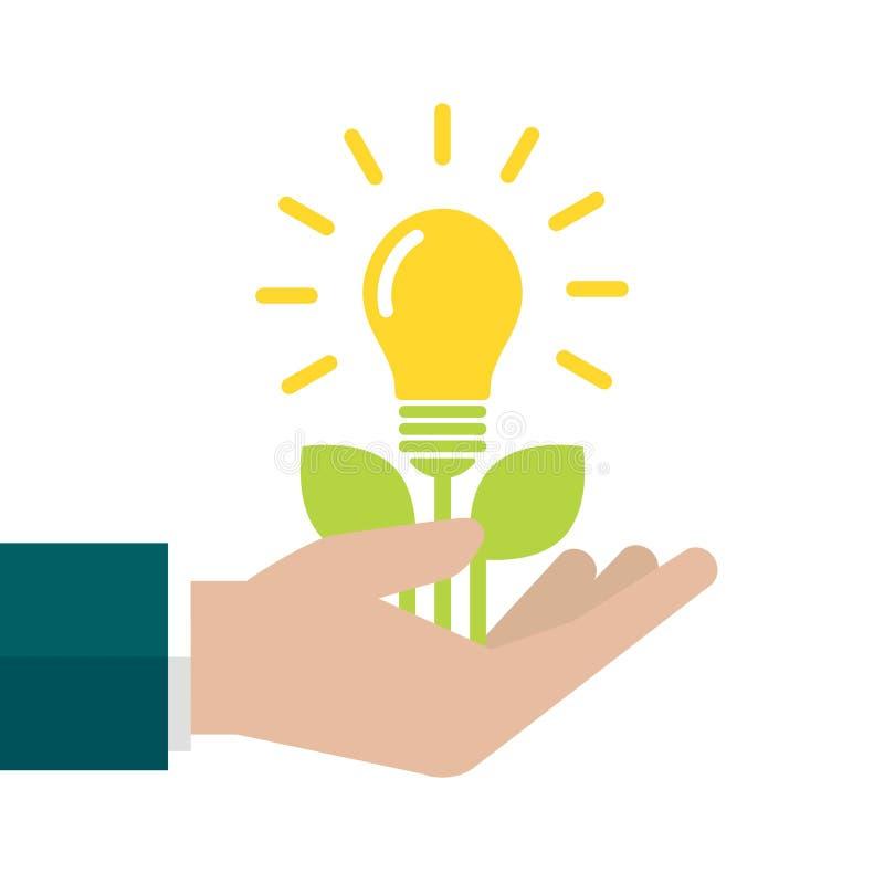 Usine dedans avec les feuilles de vert et l'ampoule brillante jaune à disposition Illustration plate de vecteur sur le bleu illustration stock
