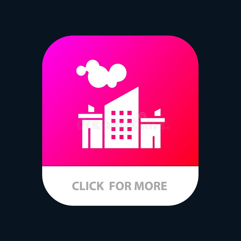 Usine, industrie, paysage, bouton mobile d'appli de pollution Android et version de Glyph d'IOS illustration stock