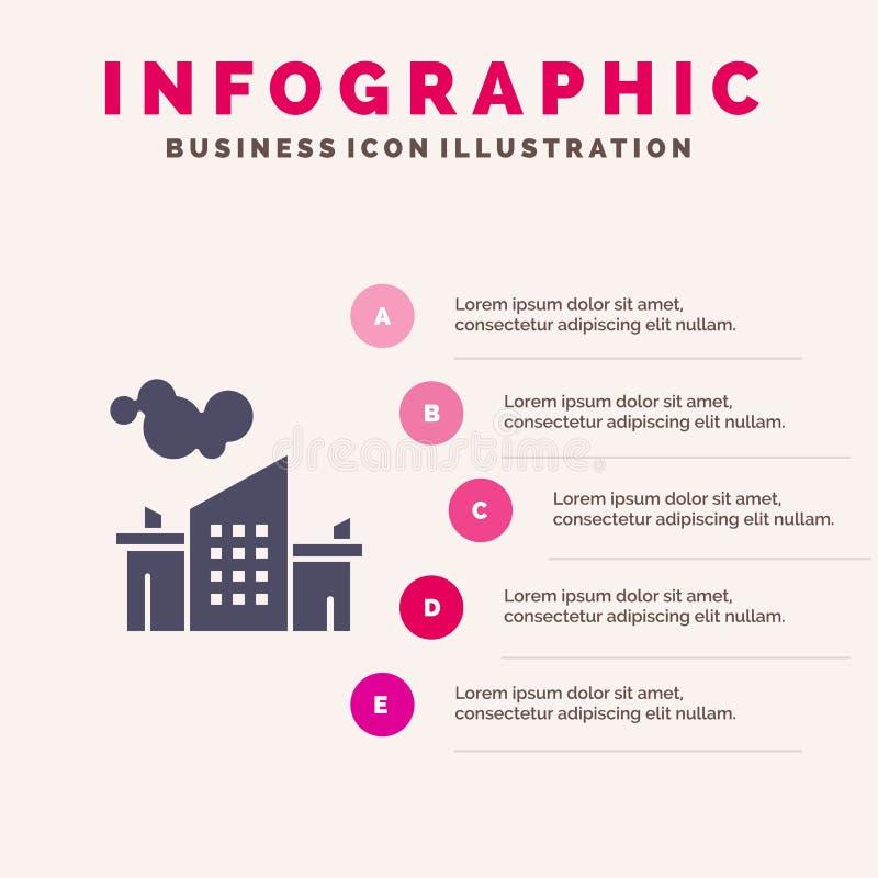 Usine, industrie, paysage, fond solide de présentation d'étapes d'Infographics 5 d'icône de pollution illustration libre de droits