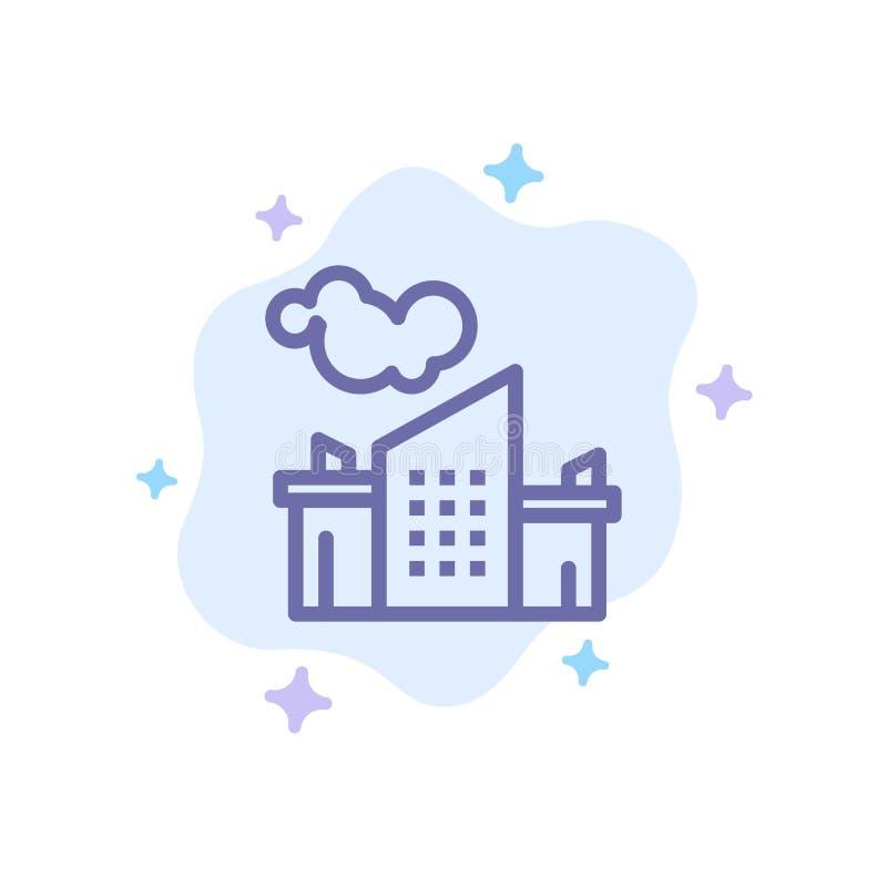 Usine, industrie, paysage, icône bleue de pollution sur le fond abstrait de nuage illustration stock