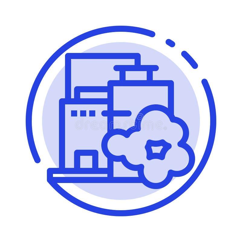 Usine, industrie, paysage, ligne pointillée bleue ligne icône de pollution illustration de vecteur