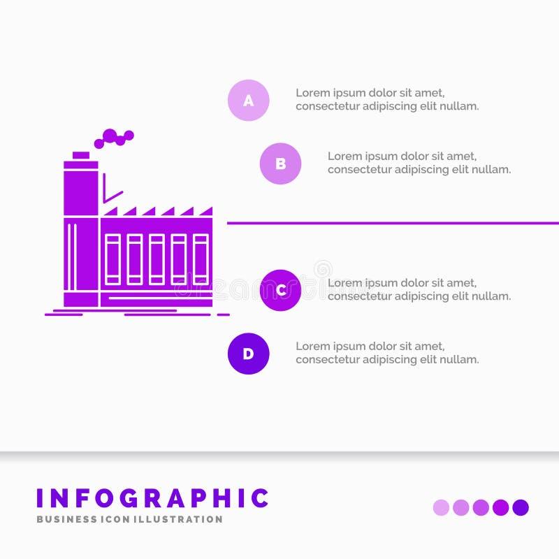 Usine, industriel, industrie, fabrication, calibre d'Infographics de production pour le site Web et présentation Ic?ne pourpre de illustration libre de droits