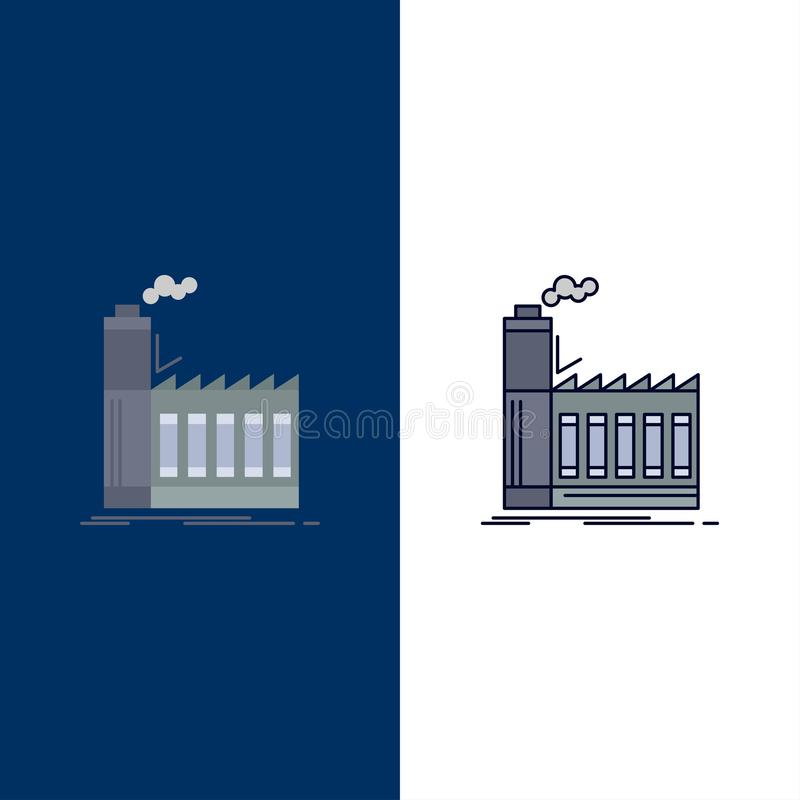 Usine, industrielle, industrie, fabrication, vecteur plat d'icône de couleur de production illustration stock