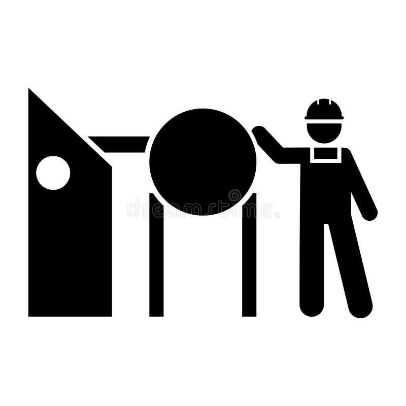 Usine, industrielle, machines, homme, icône du travail ?l?ment d'ic?ne de fabrication Ic?ne de la meilleure qualit? de conception illustration de vecteur